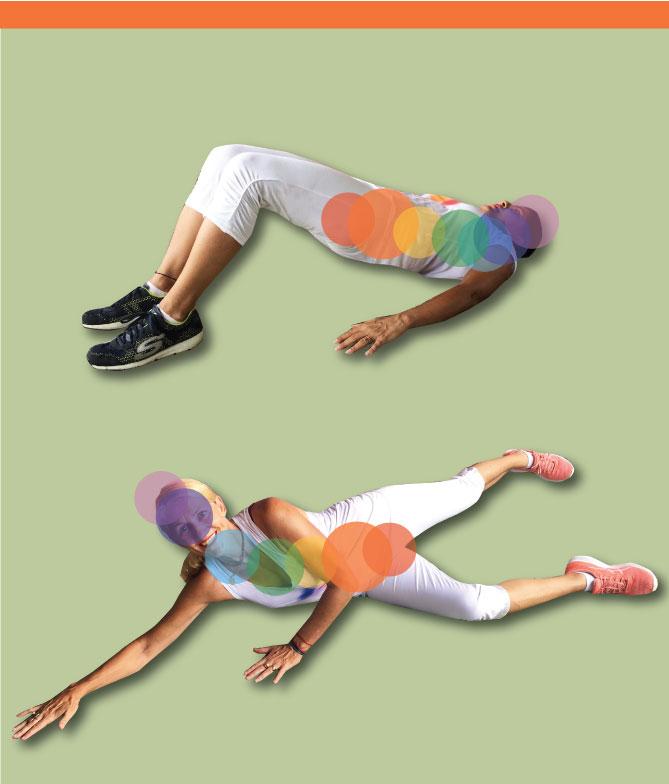 Sacral chakra activation - leg front back & bridge with pelvis tuck
